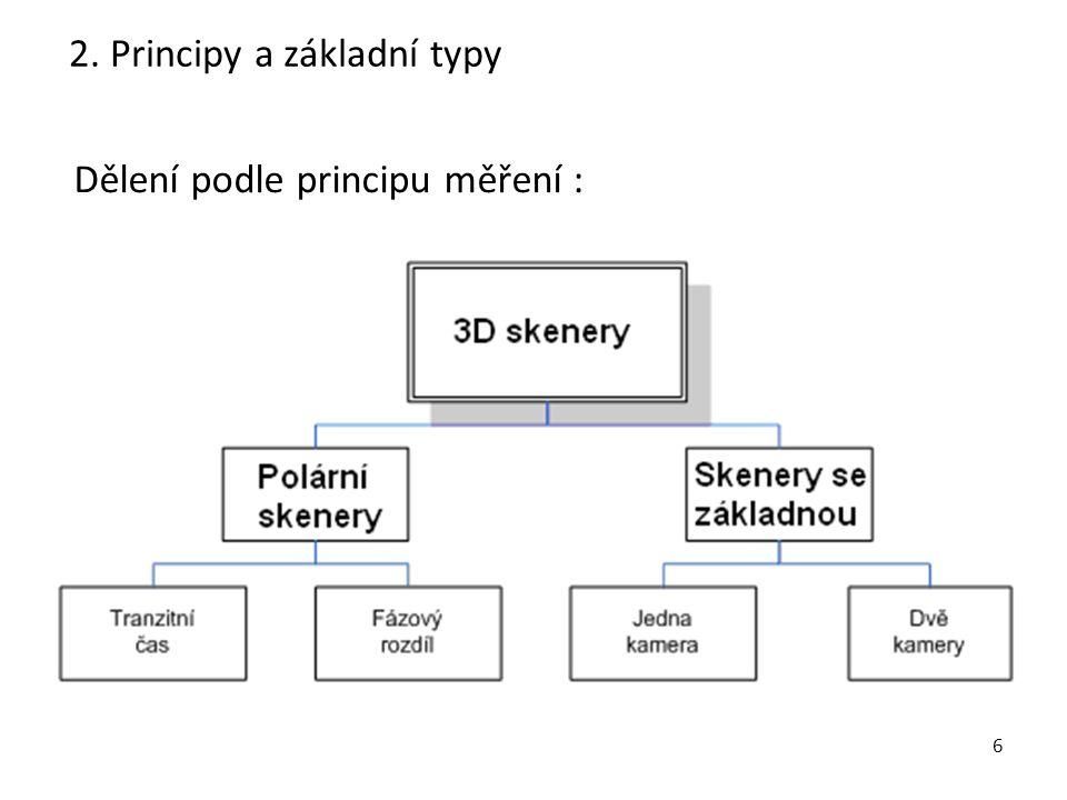 7 Polární skener: - z hlediska principu se jedná o totální stanici s bezhranolovým dálkoměrem (nikoli provedením), - dálkoměr na principu měření tranzitního času nebo fázového rozdílu.