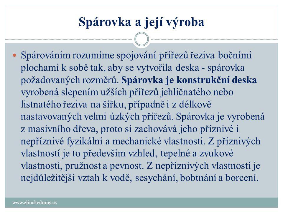 Spárovka a její výroba www.zlinskedumy.cz  Spárováním rozumíme spojování přířezů řeziva bočními plochami k sobě tak, aby se vytvořila deska - spárovk