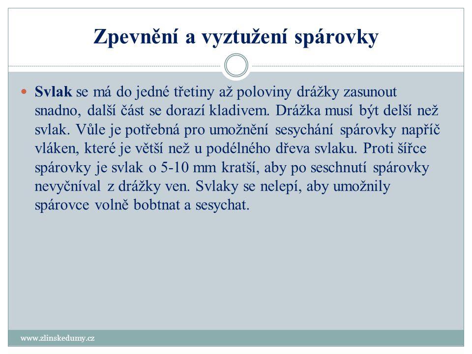 Zpevnění a vyztužení spárovky www.zlinskedumy.cz  Svlak se má do jedné třetiny až poloviny drážky zasunout snadno, další část se dorazí kladivem. Drá