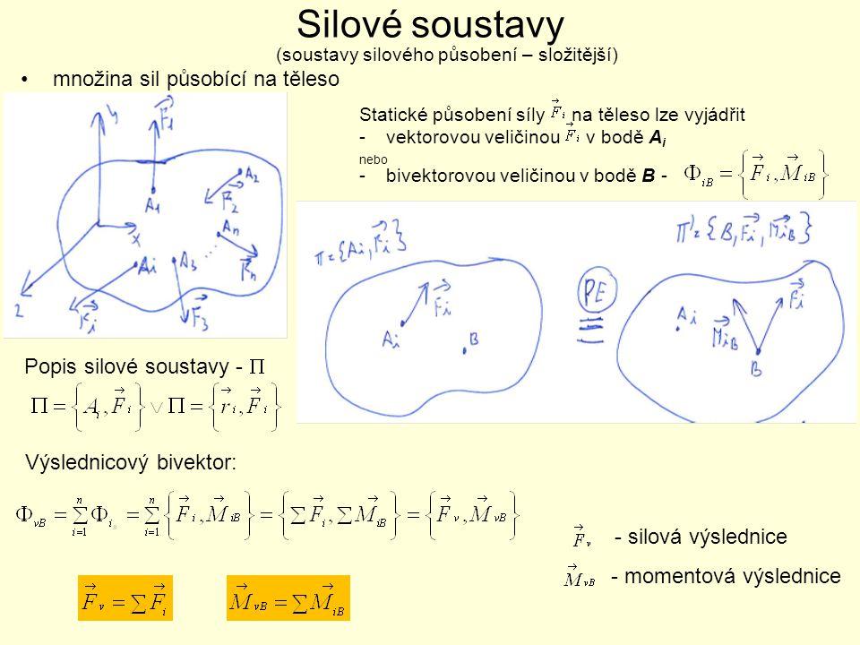 Silové soustavy •množina sil působící na těleso (soustavy silového působení – složitější) Popis silové soustavy -  Statické působení síly na těleso l