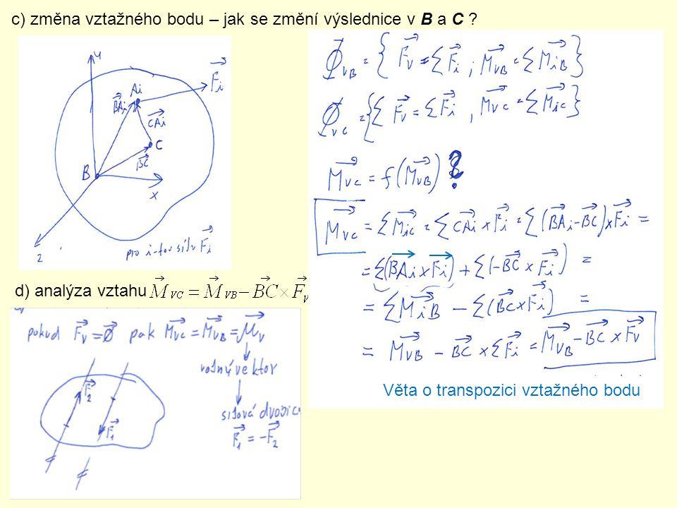 c) změna vztažného bodu – jak se změní výslednice v B a C ? d) analýza vztahu Věta o transpozici vztažného bodu