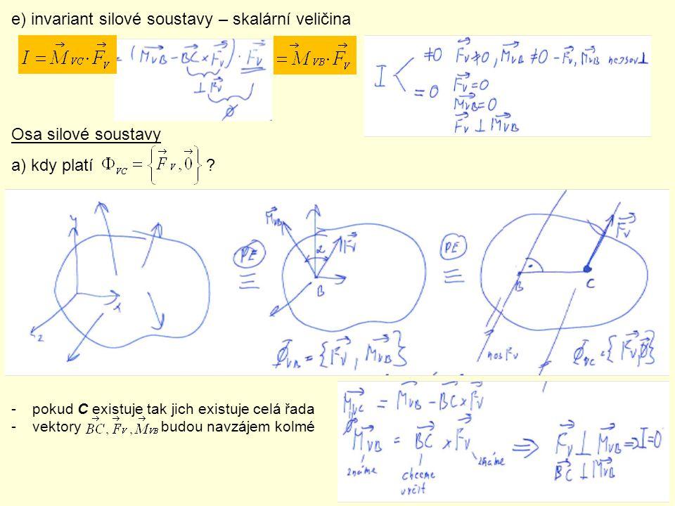 e) invariant silové soustavy – skalární veličina Osa silové soustavy a) kdy platí ? -pokud C existuje tak jich existuje celá řada -vektory budou navzá