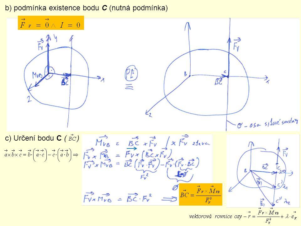 b) podmínka existence bodu C (nutná podmínka) c) Určení bodu C ( )