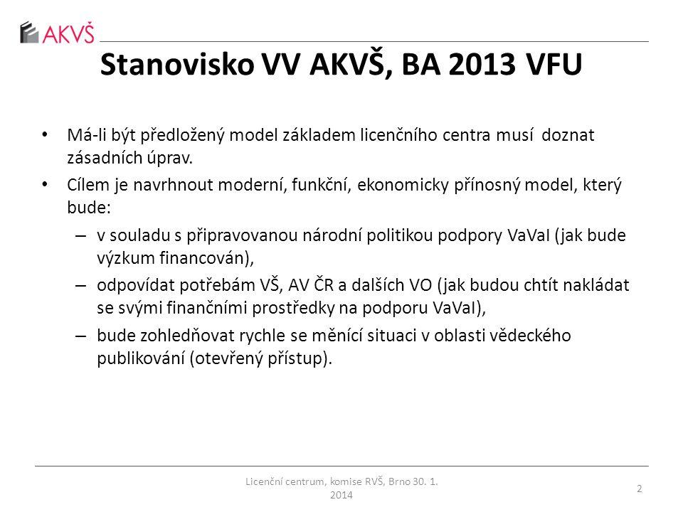 Stanovisko VV AKVŠ, BA 2013 VFU • Má-li být předložený model základem licenčního centra musí doznat zásadních úprav.