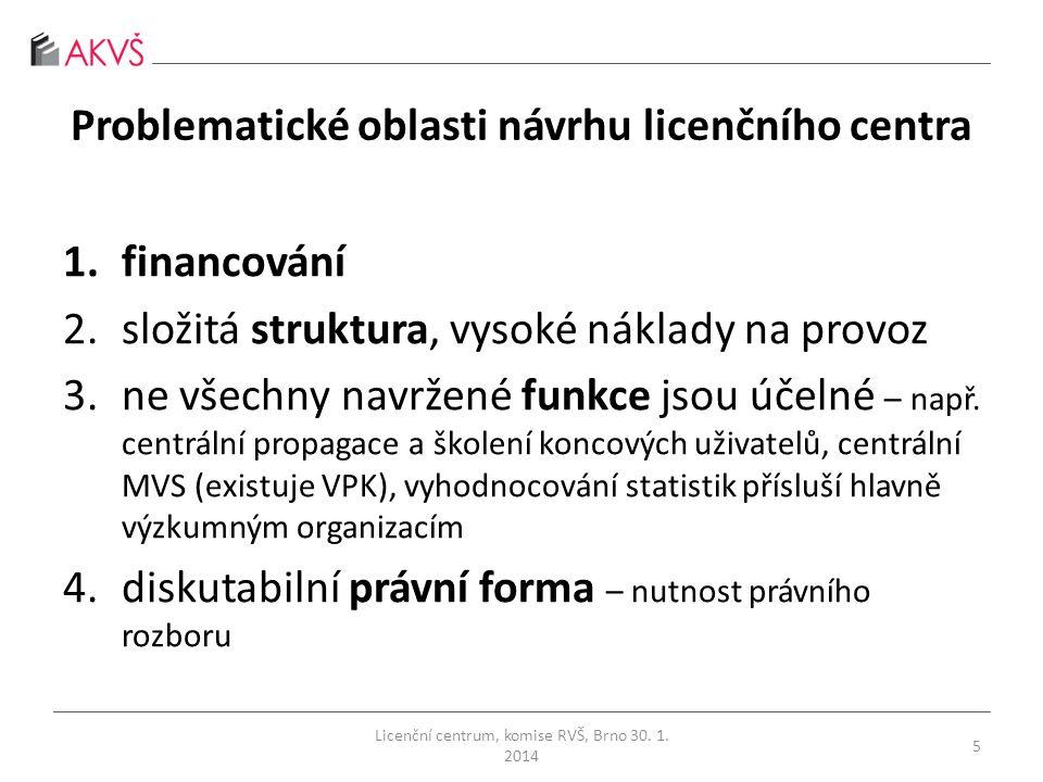 Problematické oblasti návrhu licenčního centra 1.financování 2.složitá struktura, vysoké náklady na provoz 3.ne všechny navržené funkce jsou účelné – např.