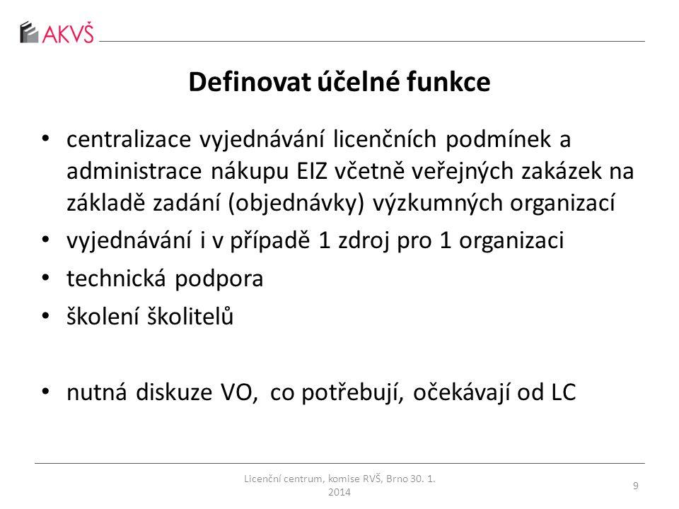 Definovat účelné funkce • centralizace vyjednávání licenčních podmínek a administrace nákupu EIZ včetně veřejných zakázek na základě zadání (objednávky) výzkumných organizací • vyjednávání i v případě 1 zdroj pro 1 organizaci • technická podpora • školení školitelů • nutná diskuze VO, co potřebují, očekávají od LC Licenční centrum, komise RVŠ, Brno 30.