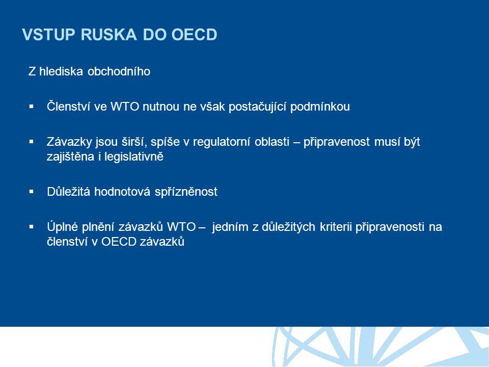 VSTUP RUSKA DO OECD Z hlediska obchodního  Členství ve WTO nutnou ne však postačující podmínkou  Závazky jsou širší, spíše v regulatorní oblasti – připravenost musí být zajištěna i legislativně  Důležitá hodnotová spřízněnost  Úplné plnění závazků WTO – jedním z důležitých kriterii připravenosti na členství v OECD závazků