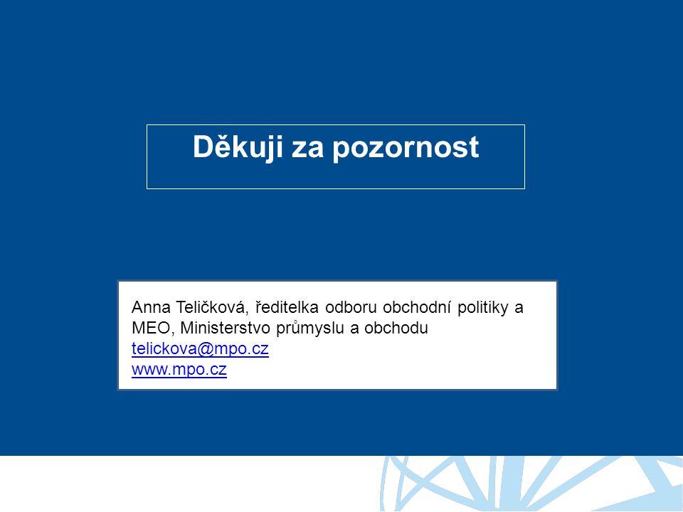 Děkuji za pozornost Anna Teličková, ředitelka odboru obchodní politiky a MEO, Ministerstvo průmyslu a obchodu telickova@mpo.cz www.mpo.cz