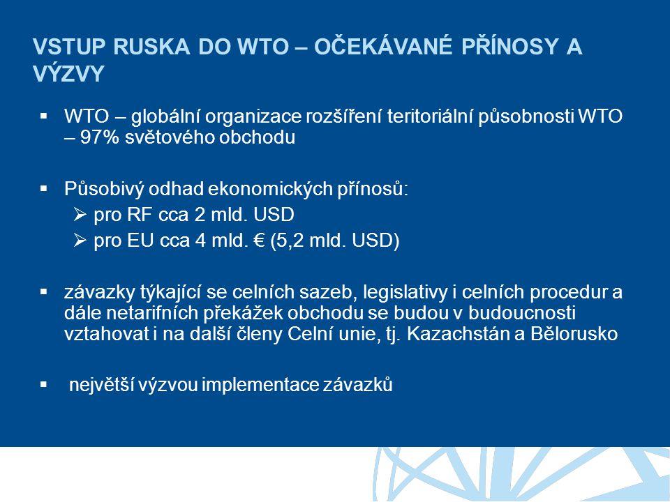 Závěr  Vstup Ruska do WTO je jednoznačně přínosný – podpora multilaterálního obchodního systému je společný cíl – usnadňuje obchod, zlevňuje náklady firem všech členů WTO Přínosy jsou vyčíslitelné pouze v realizovaných příležitostech  Zatím krátká doba pro hlubší reflexi – některé firmy ani neměli možnost zaznamenat změnu  Pro odstranění potíží je nezbytná spolupráce firem se státem.