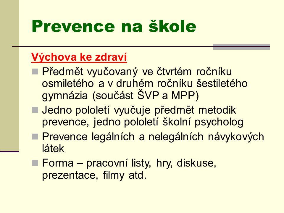 Prevence na škole Výchova ke zdraví  Předmět vyučovaný ve čtvrtém ročníku osmiletého a v druhém ročníku šestiletého gymnázia (součást ŠVP a MPP)  Je