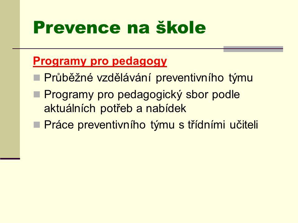 Prevence na škole Programy pro pedagogy  Průběžné vzdělávání preventivního týmu  Programy pro pedagogický sbor podle aktuálních potřeb a nabídek  P