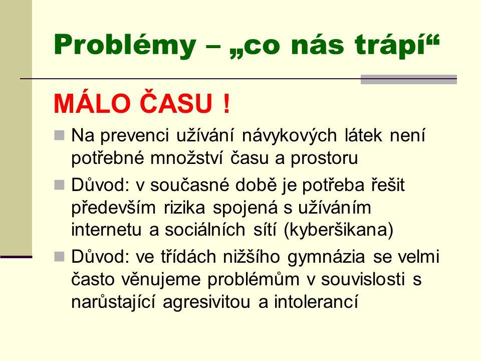 """Problémy – """"co nás trápí"""" MÁLO ČASU !  Na prevenci užívání návykových látek není potřebné množství času a prostoru  Důvod: v současné době je potřeb"""
