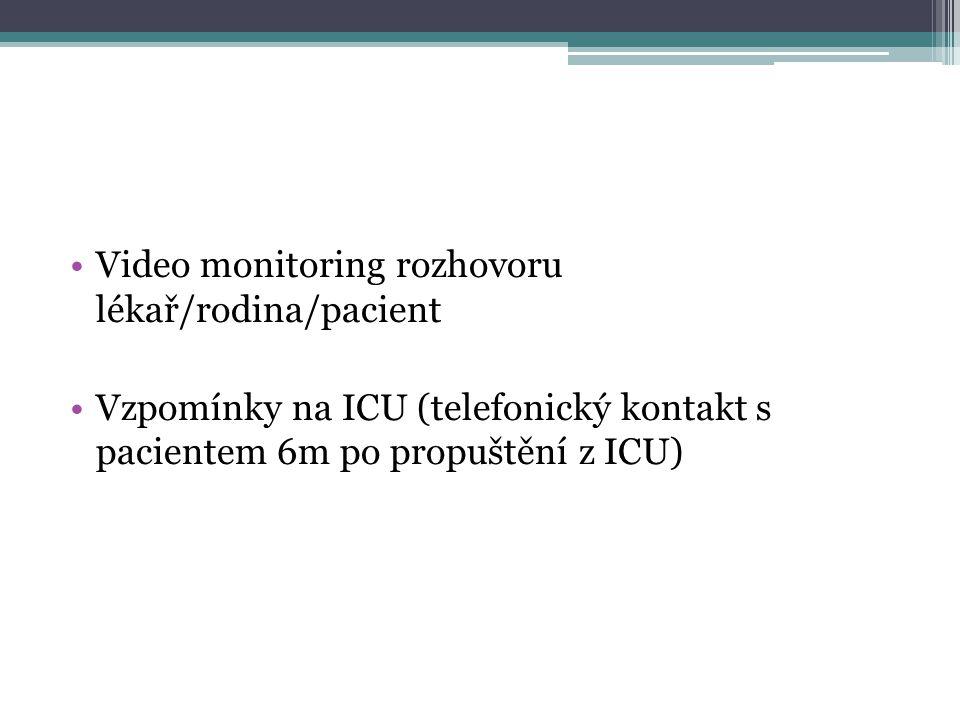 •Video monitoring rozhovoru lékař/rodina/pacient •Vzpomínky na ICU (telefonický kontakt s pacientem 6m po propuštění z ICU)