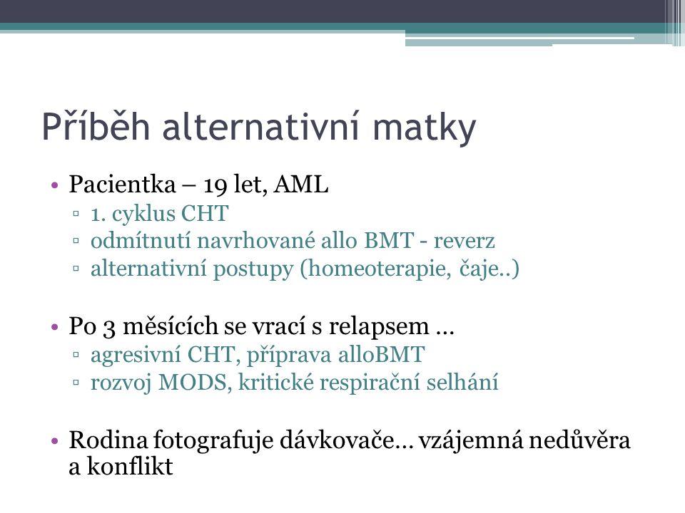 Příběh alternativní matky •Pacientka – 19 let, AML ▫1. cyklus CHT ▫odmítnutí navrhované allo BMT - reverz ▫alternativní postupy (homeoterapie, čaje..)