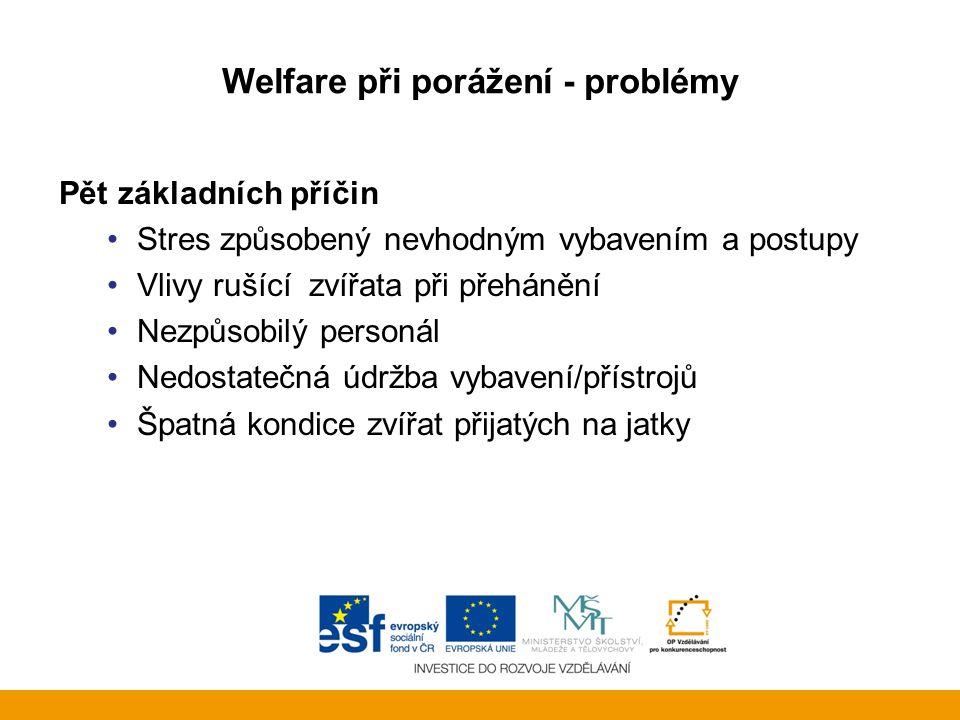 Welfare při porážení - problémy Pět základních příčin •Stres způsobený nevhodným vybavením a postupy •Vlivy rušící zvířata při přehánění •Nezpůsobilý