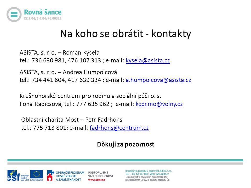ASISTA, s. r. o. – Roman Kysela tel.: 736 630 981, 476 107 313 ; e-mail: kysela@asista.czkysela@asista.cz ASISTA, s. r. o. – Andrea Humpolcová tel.: 7