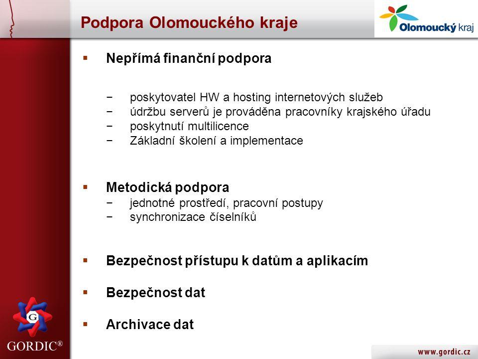 Podpora Olomouckého kraje  Nepřímá finanční podpora −poskytovatel HW a hosting internetových služeb −údržbu serverů je prováděna pracovníky krajského úřadu −poskytnutí multilicence −Základní školení a implementace  Metodická podpora −jednotné prostředí, pracovní postupy −synchronizace číselníků  Bezpečnost přístupu k datům a aplikacím  Bezpečnost dat  Archivace dat