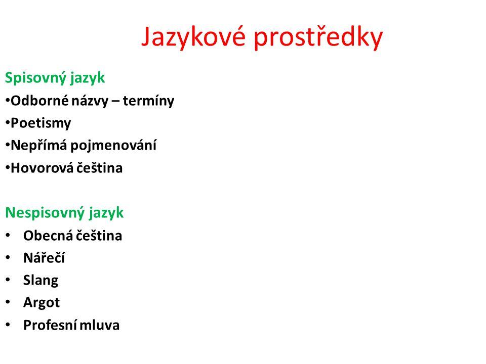 Jazykové prostředky Spisovný jazyk • Odborné názvy – termíny • Poetismy • Nepřímá pojmenování • Hovorová čeština Nespisovný jazyk • Obecná čeština • N