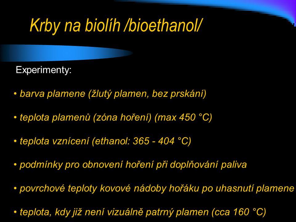 Krby na biolíh /bioethanol/ Experimenty: • barva plamene (žlutý plamen, bez prskání) • teplota plamenů (zóna hoření) (max 450 °C) • teplota vznícení (ethanol: 365 - 404 °C) • podmínky pro obnovení hoření při doplňování paliva • povrchové teploty kovové nádoby hořáku po uhasnutí plamene • teplota, kdy již není vizuálně patrný plamen (cca 160 °C)