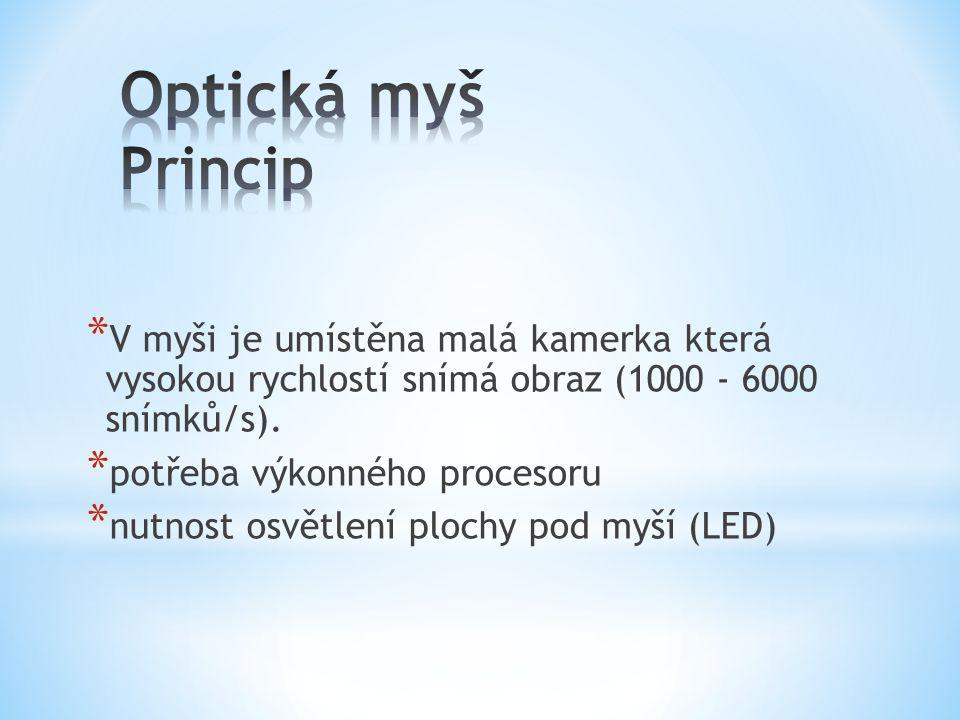 * V myši je umístěna malá kamerka která vysokou rychlostí snímá obraz (1000 - 6000 snímků/s). * potřeba výkonného procesoru * nutnost osvětlení plochy