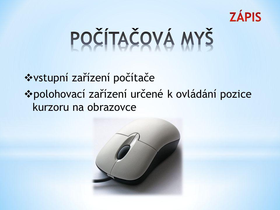 Obvyklá myš je složena z několika součástí.
