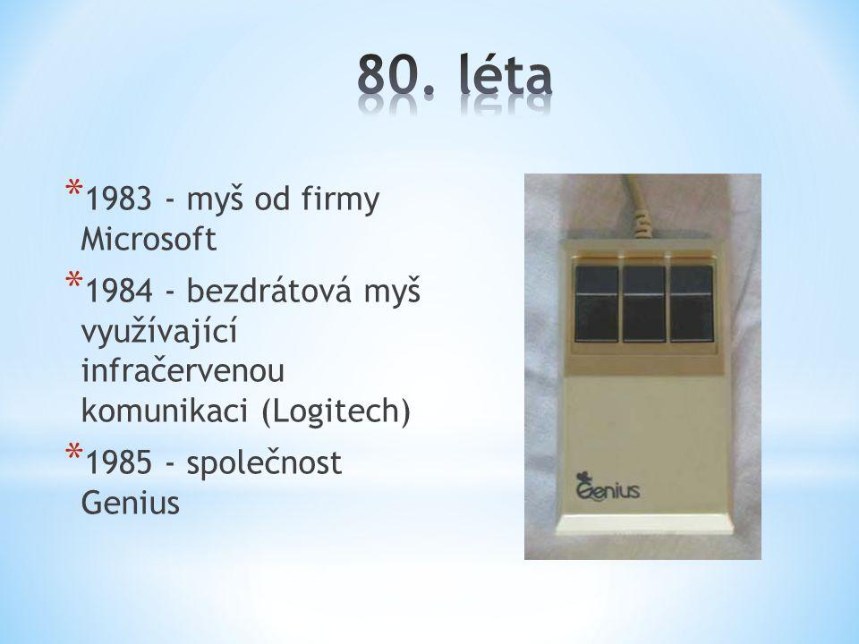 * 1983 - myš od firmy Microsoft * 1984 - bezdrátová myš využívající infračervenou komunikaci (Logitech) * 1985 - společnost Genius