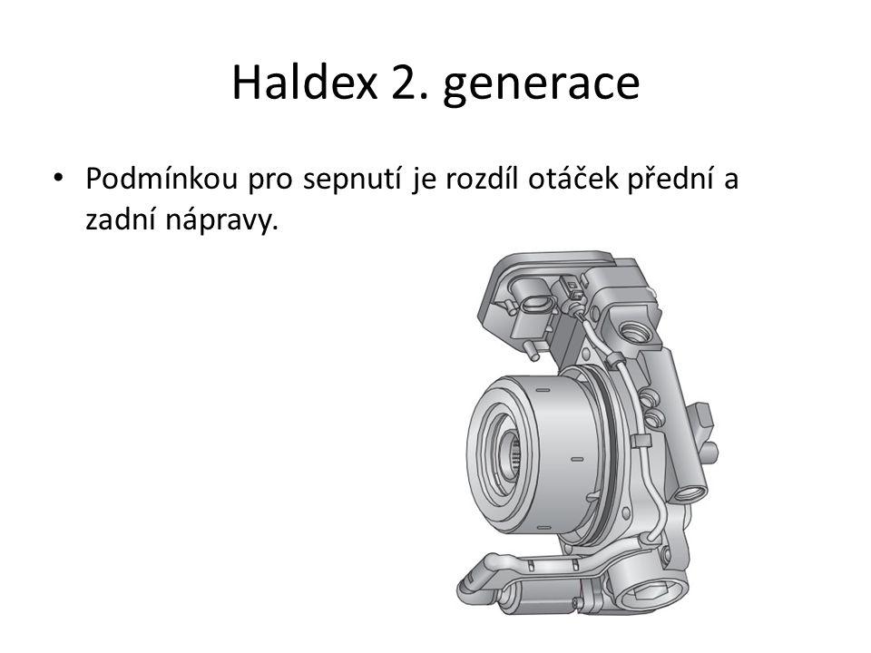 Haldex 2. generace • Podmínkou pro sepnutí je rozdíl otáček přední a zadní nápravy.