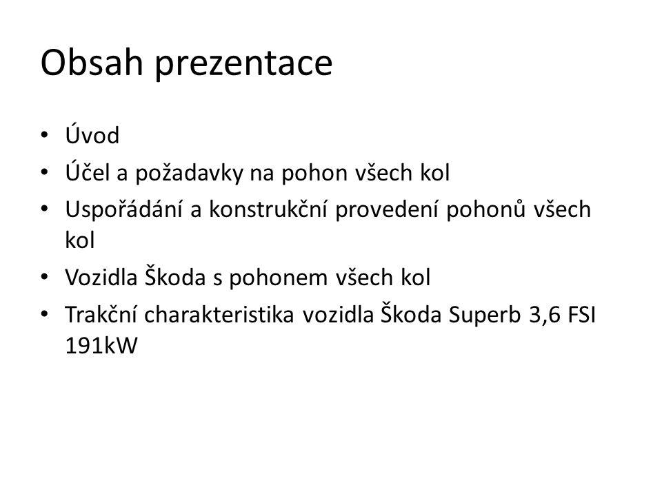 Obsah prezentace • Úvod • Účel a požadavky na pohon všech kol • Uspořádání a konstrukční provedení pohonů všech kol • Vozidla Škoda s pohonem všech kol • Trakční charakteristika vozidla Škoda Superb 3,6 FSI 191kW