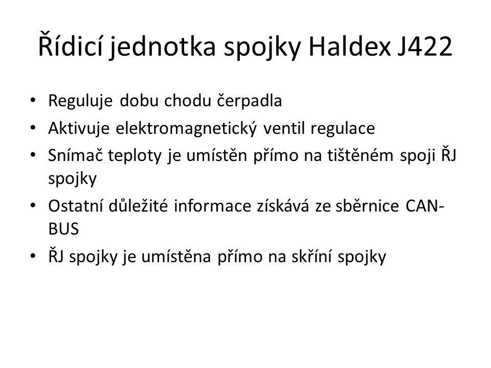 Řídicí jednotka spojky Haldex J422 • Reguluje dobu chodu čerpadla • Aktivuje elektromagnetický ventil regulace • Snímač teploty je umístěn přímo na tištěném spoji ŘJ spojky • Ostatní důležité informace získává ze sběrnice CAN- BUS • ŘJ spojky je umístěna přímo na skříní spojky