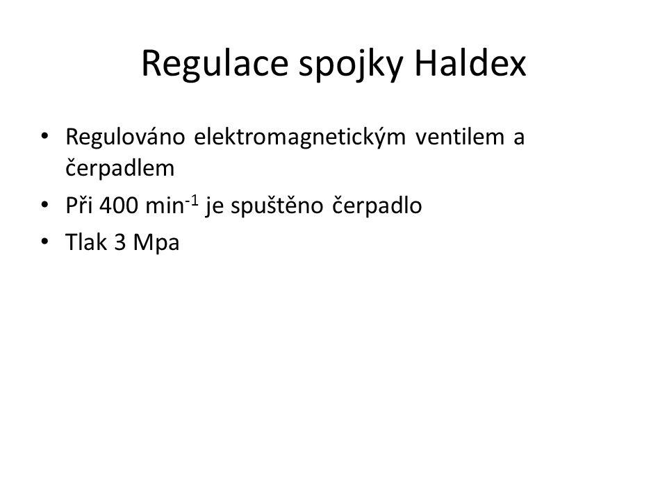 Regulace spojky Haldex • Regulováno elektromagnetickým ventilem a čerpadlem • Při 400 min -1 je spuštěno čerpadlo • Tlak 3 Mpa