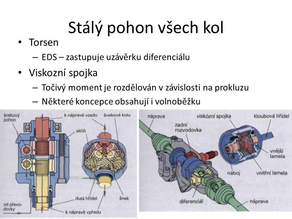 Stálý pohon všech kol • Torsen – EDS – zastupuje uzávěrku diferenciálu • Viskozní spojka – Točivý moment je rozdělován v závislosti na prokluzu – Některé koncepce obsahují i volnoběžku