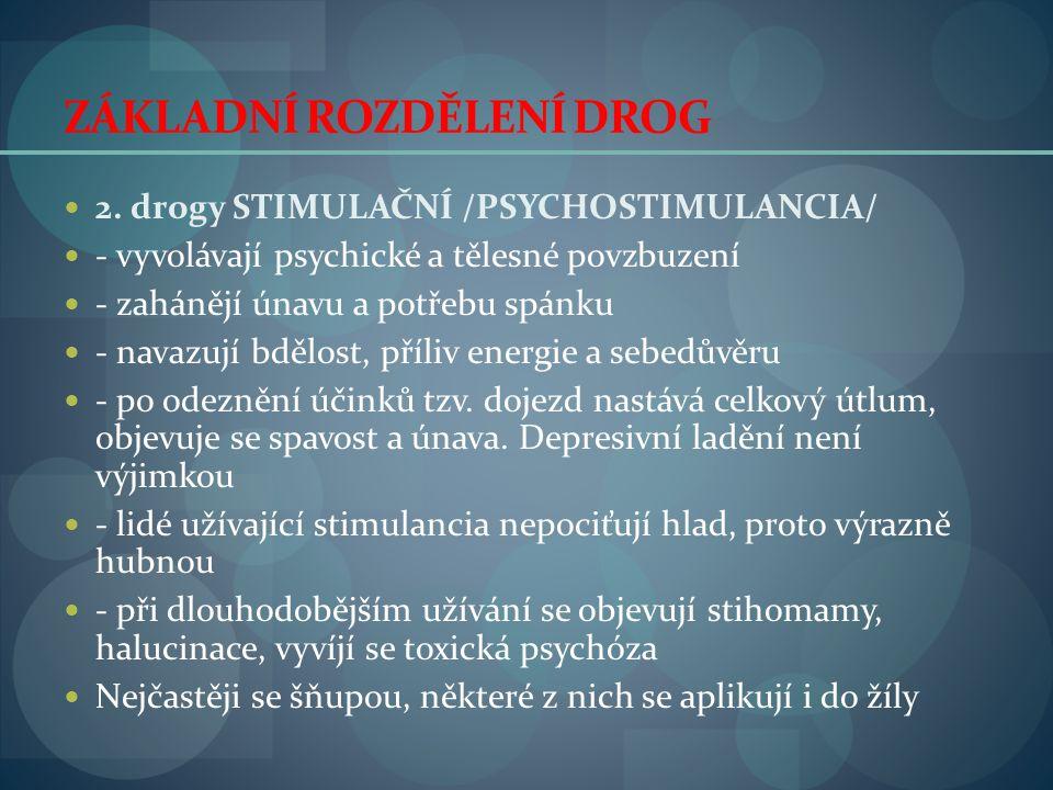 ZÁKLADNÍ ROZDĚLENÍ DROG  2. drogy STIMULAČNÍ /PSYCHOSTIMULANCIA/  - vyvolávají psychické a tělesné povzbuzení  - zahánějí únavu a potřebu spánku 