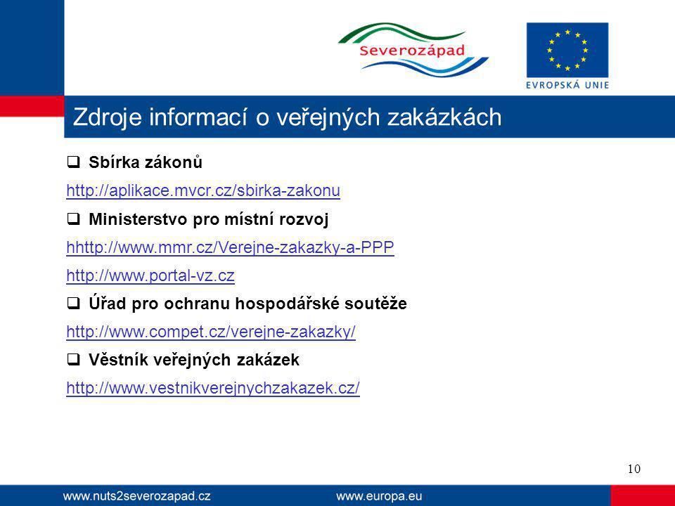  Sbírka zákonů http://aplikace.mvcr.cz/sbirka-zakonu  Ministerstvo pro místní rozvoj hhttp://www.mmr.cz/Verejne-zakazky-a-PPP http://www.portal-vz.cz  Úřad pro ochranu hospodářské soutěže http://www.compet.cz/verejne-zakazky/  Věstník veřejných zakázek http://www.vestnikverejnychzakazek.cz/ Zdroje informací o veřejných zakázkách 10