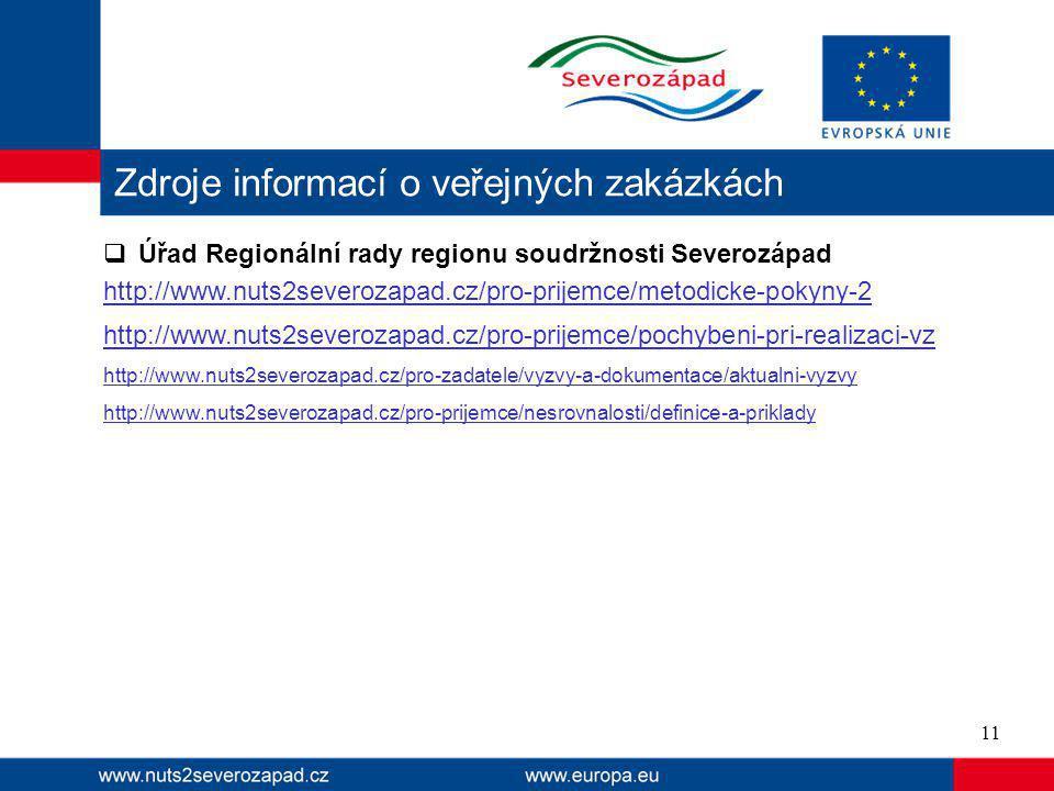  Úřad Regionální rady regionu soudržnosti Severozápad http://www.nuts2severozapad.cz/pro-prijemce/metodicke-pokyny-2 http://www.nuts2severozapad.cz/pro-prijemce/pochybeni-pri-realizaci-vz http://www.nuts2severozapad.cz/pro-zadatele/vyzvy-a-dokumentace/aktualni-vyzvy http://www.nuts2severozapad.cz/pro-prijemce/nesrovnalosti/definice-a-priklady Zdroje informací o veřejných zakázkách 11