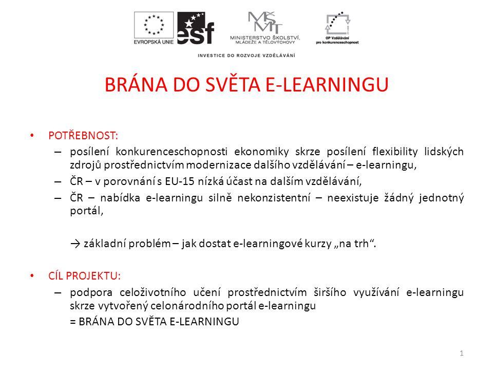 """BRÁNA DO SVĚTA E-LEARNINGU • POTŘEBNOST: – posílení konkurenceschopnosti ekonomiky skrze posílení flexibility lidských zdrojů prostřednictvím modernizace dalšího vzdělávání – e-learningu, – ČR – v porovnání s EU-15 nízká účast na dalším vzdělávání, – ČR – nabídka e-learningu silně nekonzistentní – neexistuje žádný jednotný portál, → základní problém – jak dostat e-learningové kurzy """"na trh ."""