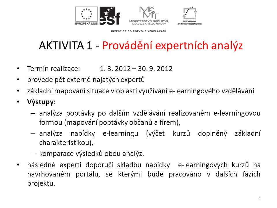 AKTIVITA 1 - Provádění expertních analýz • Termín realizace: 1. 3. 2012 – 30. 9. 2012 • provede pět externě najatých expertů • základní mapování situa