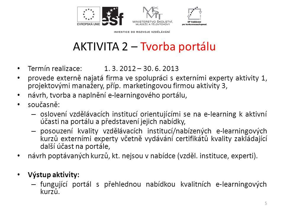 AKTIVITA 2 – Tvorba portálu • Termín realizace: 1. 3. 2012 – 30. 6. 2013 • provede externě najatá firma ve spolupráci s externími experty aktivity 1,