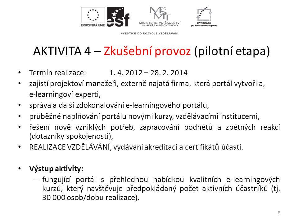 AKTIVITA 4 – Zkušební provoz (pilotní etapa) • Termín realizace: 1. 4. 2012 – 28. 2. 2014 • zajistí projektoví manažeři, externě najatá firma, která p
