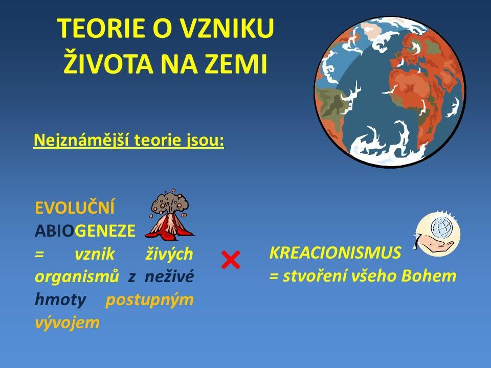 TEORIE O VZNIKU ŽIVOTA NA ZEMI Nejznámější teorie jsou: EVOLUČNÍ ABIOGENEZE = vznik živých organismů z neživé hmoty postupným vývojem × KREACIONISMUS = stvoření všeho Bohem