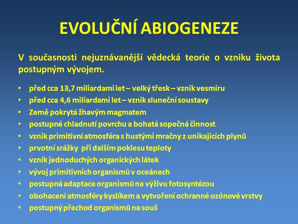EVOLUČNÍ ABIOGENEZE PŘIBLIŽNÁ ČASOVÁ OSA