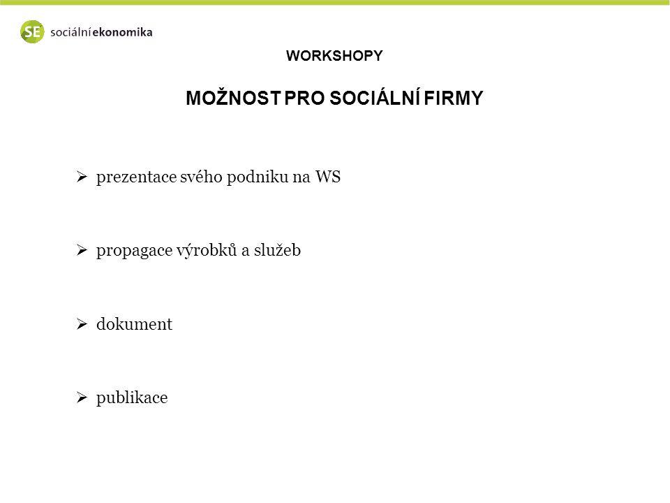 WORKSHOPY MOŽNOST PRO SOCIÁLNÍ FIRMY  prezentace svého podniku na WS  propagace výrobků a služeb  dokument  publikace