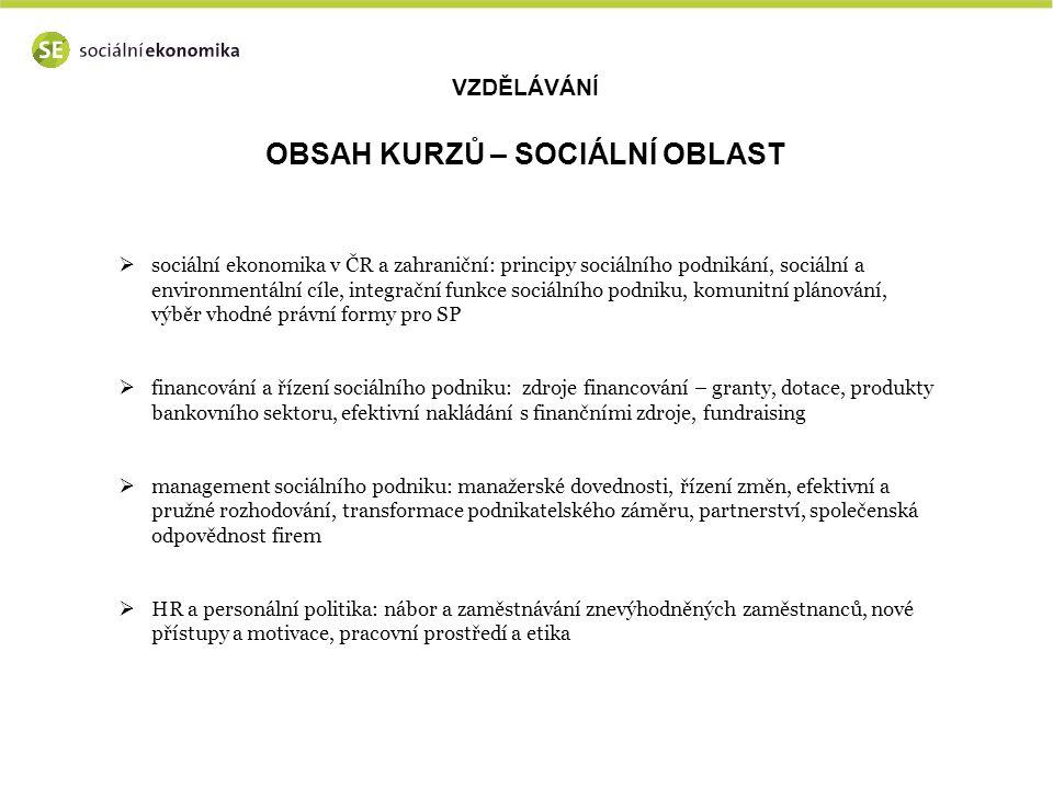 VZDĚLÁVÁNÍ OBSAH KURZŮ – SOCIÁLNÍ OBLAST  sociální ekonomika v ČR a zahraniční: principy sociálního podnikání, sociální a environmentální cíle, integrační funkce sociálního podniku, komunitní plánování, výběr vhodné právní formy pro SP  financování a řízení sociálního podniku: zdroje financování – granty, dotace, produkty bankovního sektoru, efektivní nakládání s finančními zdroje, fundraising  management sociálního podniku: manažerské dovednosti, řízení změn, efektivní a pružné rozhodování, transformace podnikatelského záměru, partnerství, společenská odpovědnost firem  HR a personální politika: nábor a zaměstnávání znevýhodněných zaměstnanců, nové přístupy a motivace, pracovní prostředí a etika