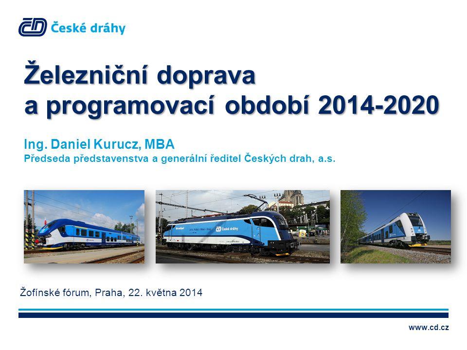 www.cd.cz Železniční doprava a programovací období 2014-2020 Ing. Daniel Kurucz, MBA Předseda představenstva a generální ředitel Českých drah, a.s. Žo