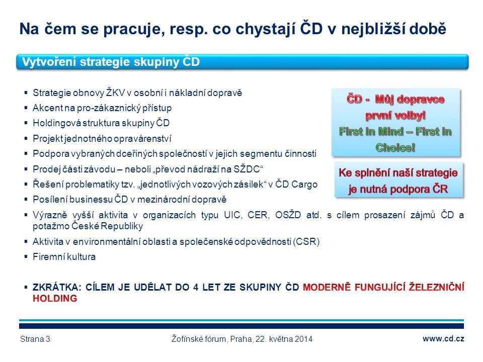 www.cd.cz Na čem se pracuje, resp. co chystají ČD v nejbližší době Žofínské fórum, Praha, 22. května 2014Strana 3 Vytvoření strategie skupiny ČD