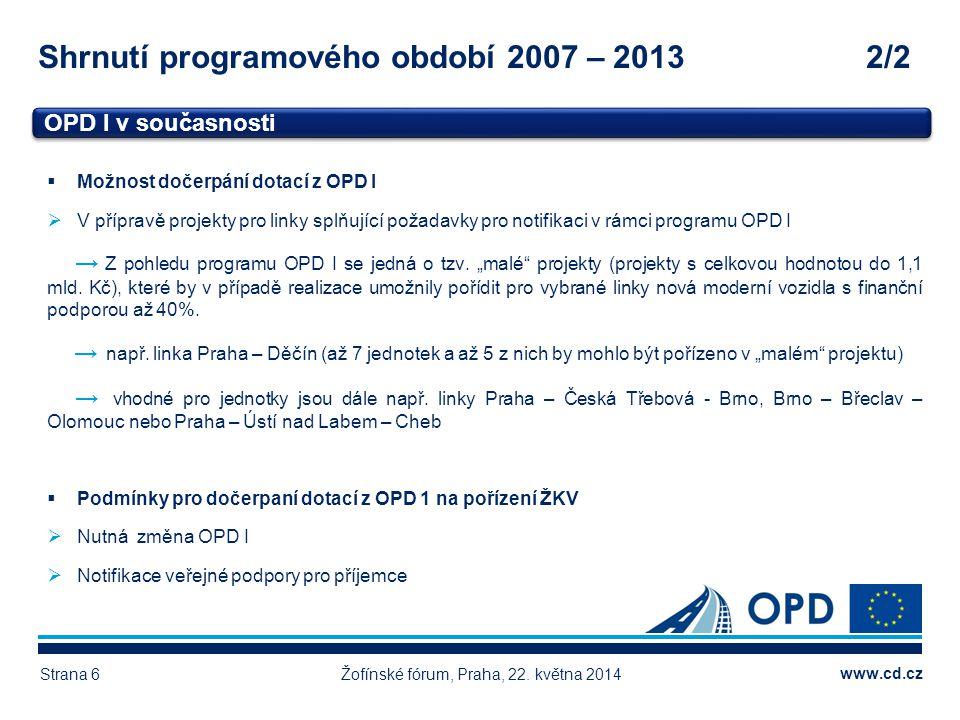 www.cd.cz Shrnutí programového období 2007 – 20132/2 Žofínské fórum, Praha, 22. května 2014Strana 6 OPD I v současnosti Vlastní zdroje 4.515, 99 mil.