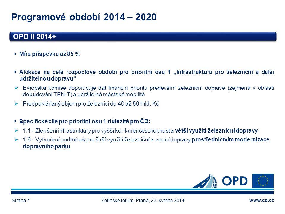www.cd.cz Programové období 2014 – 2020 Žofínské fórum, Praha, 22. května 2014Strana 7 OPD II 2014+ Vlastní zdroje 4.515, 99 mil. Kč Dotace z EU 2.887