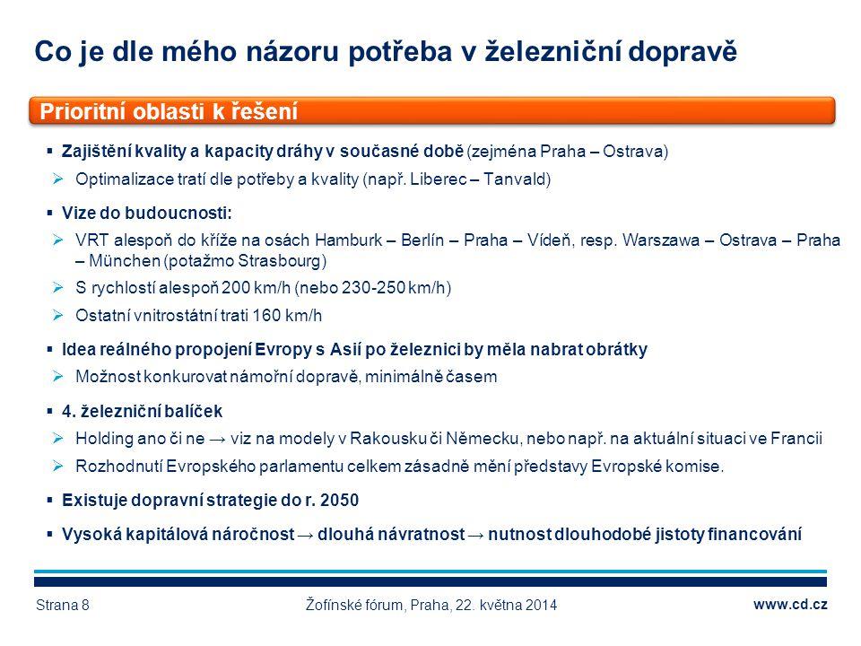 www.cd.cz Co je dle mého názoru potřeba v železniční dopravě Žofínské fórum, Praha, 22. května 2014Strana 8  Zajištění kvality a kapacity dráhy v sou