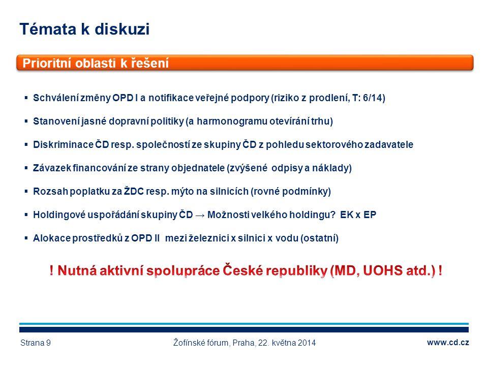 www.cd.cz Témata k diskuzi Žofínské fórum, Praha, 22. května 2014Strana 9 Prioritní oblasti k řešení