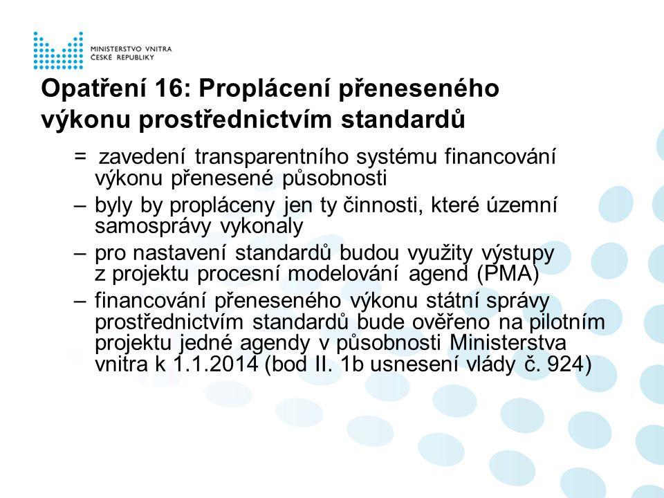 = zavedení transparentního systému financování výkonu přenesené působnosti –byly by propláceny jen ty činnosti, které územní samosprávy vykonaly –pro