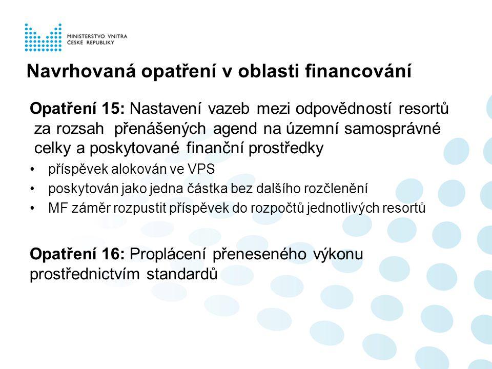 = zavedení transparentního systému financování výkonu přenesené působnosti –byly by propláceny jen ty činnosti, které územní samosprávy vykonaly –pro nastavení standardů budou využity výstupy z projektu procesní modelování agend (PMA) –financování přeneseného výkonu státní správy prostřednictvím standardů bude ověřeno na pilotním projektu jedné agendy v působnosti Ministerstva vnitra k 1.1.2014 (bod II.